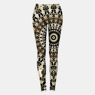 Thumbnail image of Black and Gold Filigree Mandala Leggings, Live Heroes