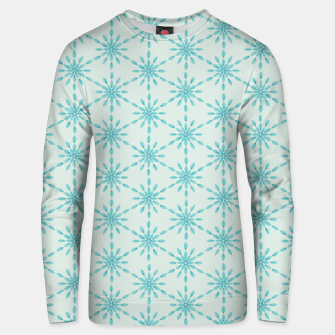Simple Pretty Hand Painted Watercolor Snowflakes Winter Holiday Pattern, Turquoise, Teal, Mint Color Unisex sweater obraz miniatury