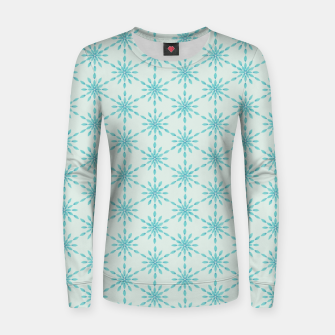 Simple Pretty Hand Painted Watercolor Snowflakes Winter Holiday Pattern, Turquoise, Teal, Mint Color Women sweater obraz miniatury