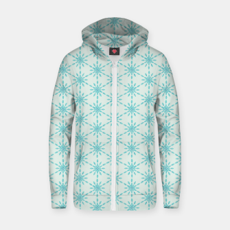 Simple Pretty Hand Painted Watercolor Snowflakes Winter Holiday Pattern, Turquoise, Teal, Mint Color Zip up hoodie obraz miniatury