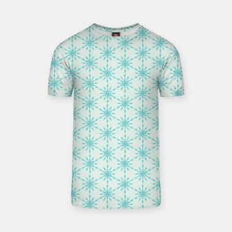 Thumbnail image of Simple Pretty Hand Painted Watercolor Snowflakes Winter Holiday Pattern, Turquoise, Teal, Mint Color T-shirt, Live Heroes