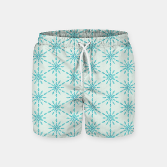 Simple Pretty Hand Painted Watercolor Snowflakes Winter Holiday Pattern, Turquoise, Teal, Mint Color Swim Shorts obraz miniatury