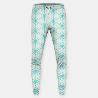 Thumbnail image of Simple Pretty Hand Painted Watercolor Snowflakes Winter Holiday Pattern, Turquoise, Teal, Mint Color Sweatpants, Live Heroes