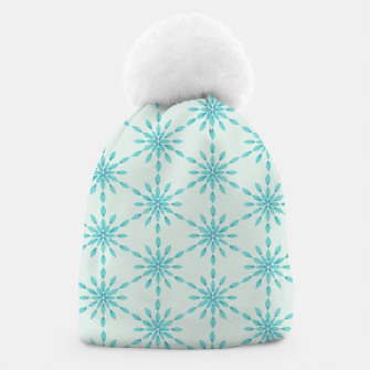 Thumbnail image of Simple Pretty Hand Painted Watercolor Snowflakes Winter Holiday Pattern, Turquoise, Teal, Mint Color Beanie, Live Heroes