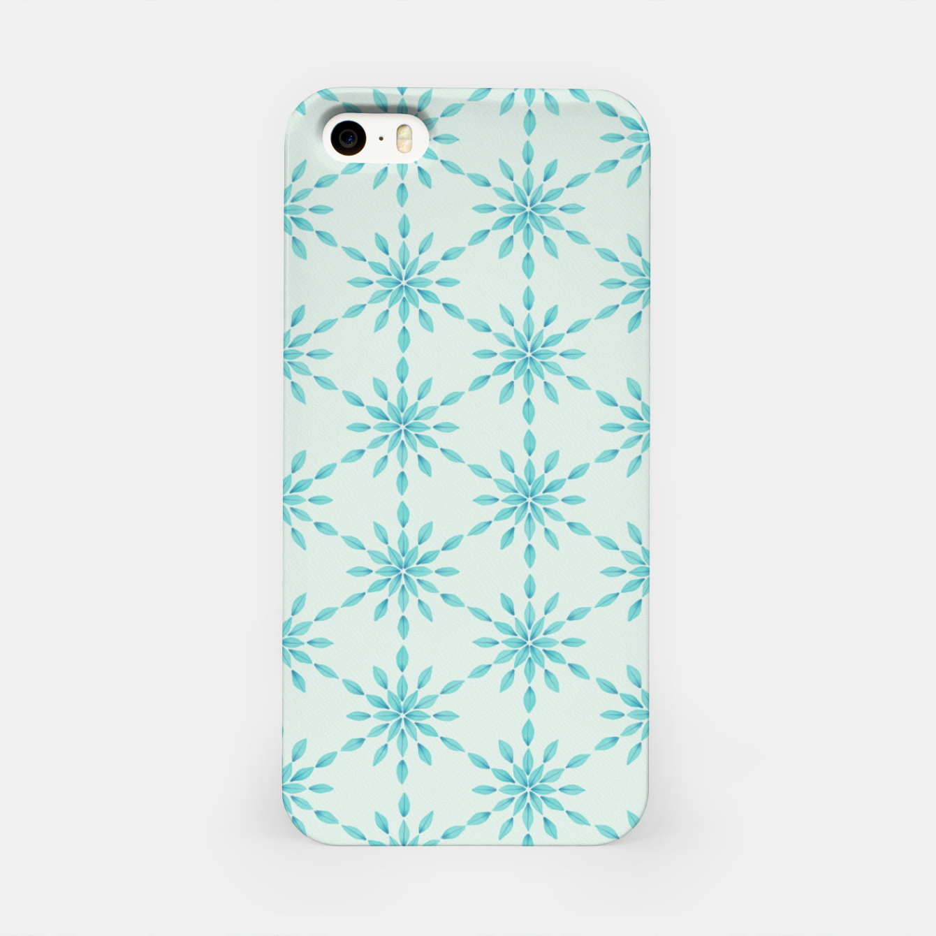 Zdjęcie Simple Pretty Hand Painted Watercolor Snowflakes Winter Holiday Pattern, Turquoise, Teal, Mint Color iPhone Case - Live Heroes