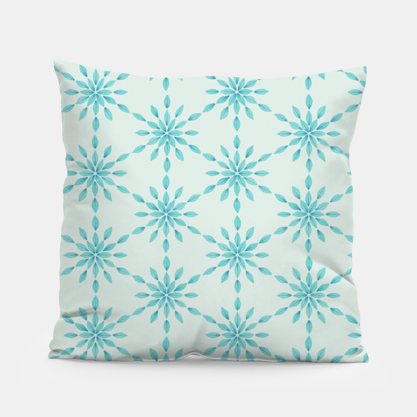 Zdjęcie Simple Pretty Hand Painted Watercolor Snowflakes Winter Holiday Pattern, Turquoise, Teal, Mint Color Pillow - Live Heroes