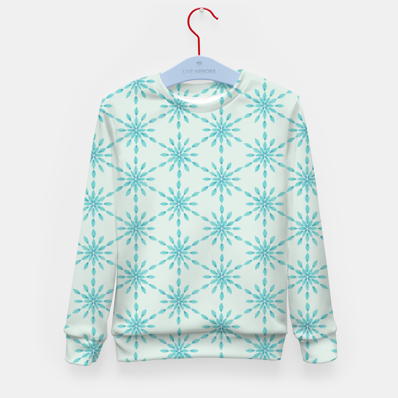 Foto Simple Pretty Hand Painted Watercolor Snowflakes Winter Holiday Pattern, Turquoise, Teal, Mint Color Kid's sweater - Live Heroes