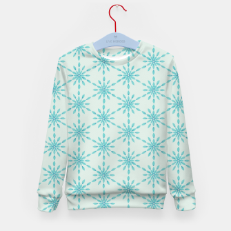Thumbnail image of Simple Pretty Hand Painted Watercolor Snowflakes Winter Holiday Pattern, Turquoise, Teal, Mint Color Kid's sweater, Live Heroes