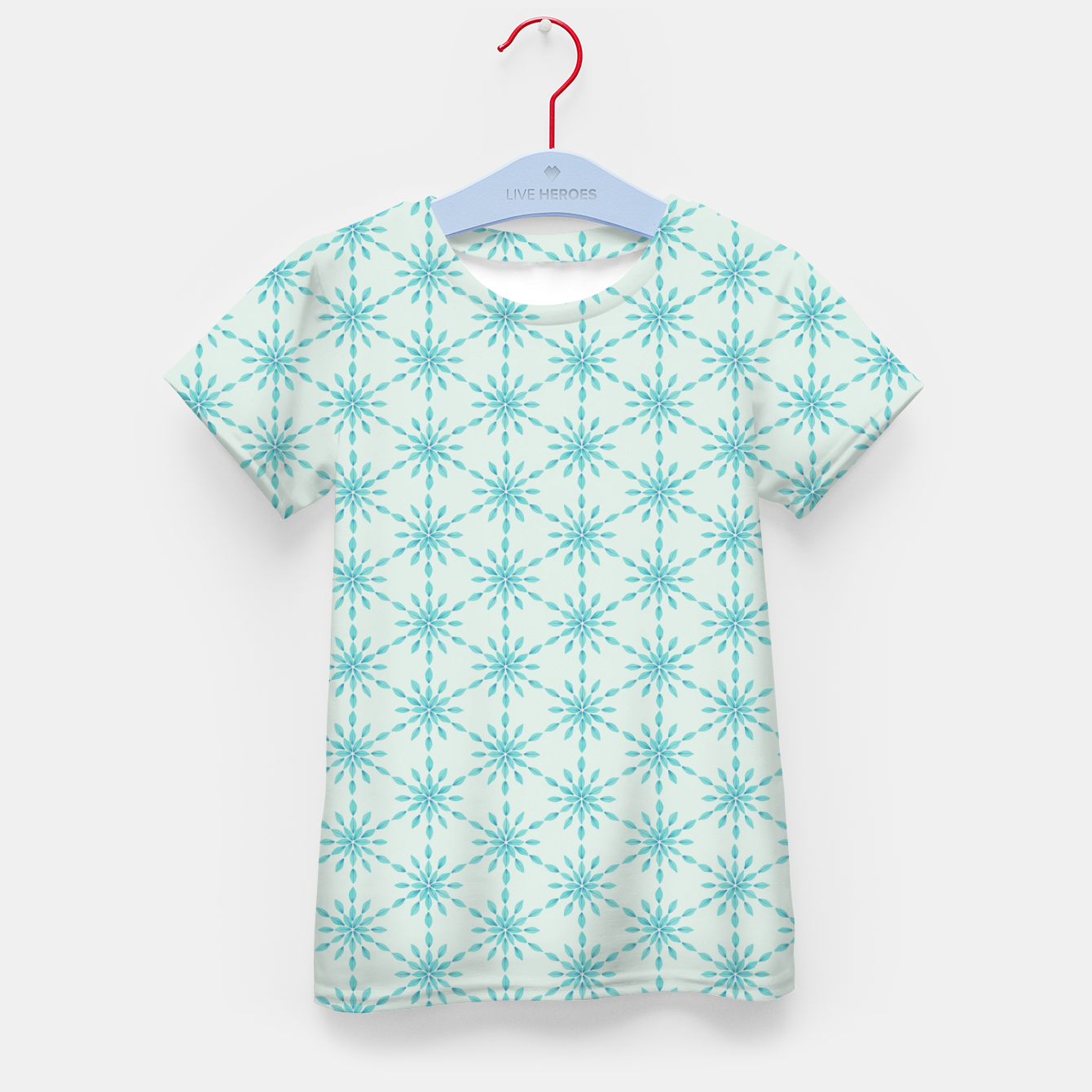 Zdjęcie Simple Pretty Hand Painted Watercolor Snowflakes Winter Holiday Pattern, Turquoise, Teal, Mint Color Kid's t-shirt - Live Heroes