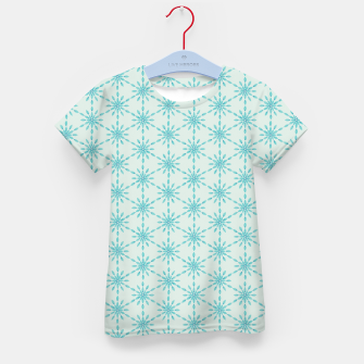 Imagen en miniatura de Simple Pretty Hand Painted Watercolor Snowflakes Winter Holiday Pattern, Turquoise, Teal, Mint Color Kid's t-shirt, Live Heroes