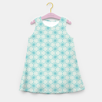 Imagen en miniatura de Simple Pretty Hand Painted Watercolor Snowflakes Winter Holiday Pattern, Turquoise, Teal, Mint Color Girl's summer dress, Live Heroes