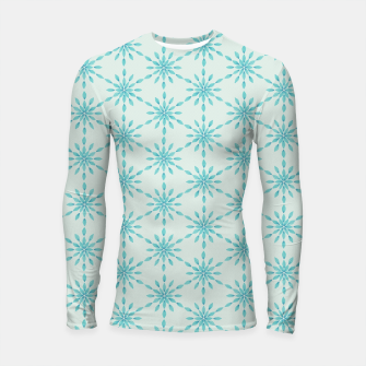 Imagen en miniatura de Simple Pretty Hand Painted Watercolor Snowflakes Winter Holiday Pattern, Turquoise, Teal, Mint Color Longsleeve rashguard , Live Heroes