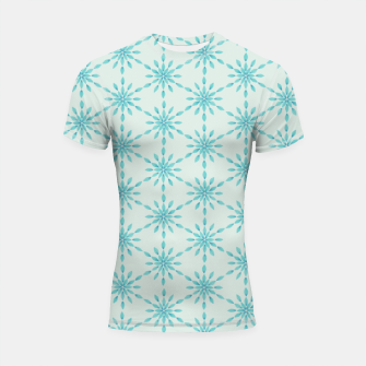 Imagen en miniatura de Simple Pretty Hand Painted Watercolor Snowflakes Winter Holiday Pattern, Turquoise, Teal, Mint Color Shortsleeve rashguard, Live Heroes