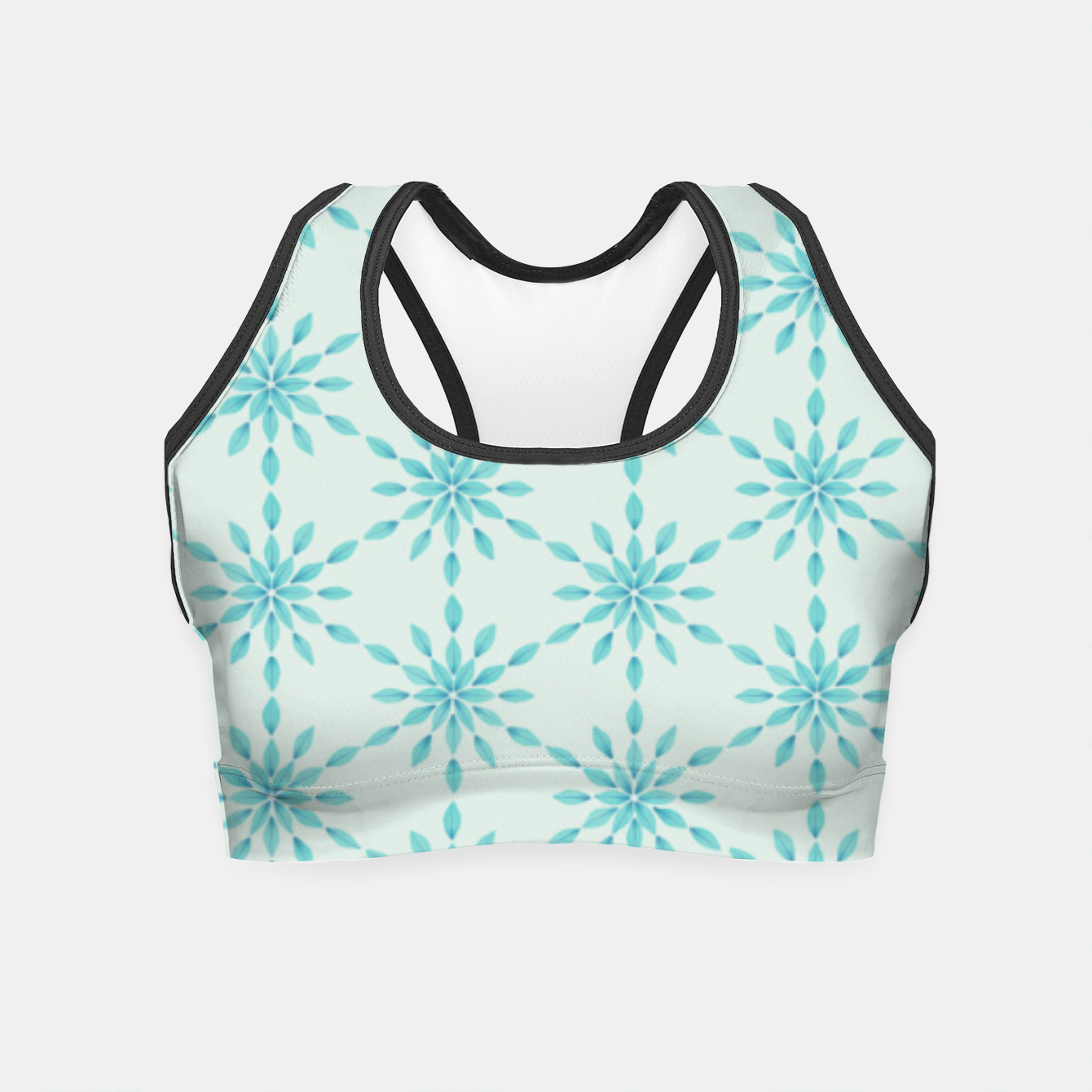 Zdjęcie Simple Pretty Hand Painted Watercolor Snowflakes Winter Holiday Pattern, Turquoise, Teal, Mint Color Crop Top - Live Heroes