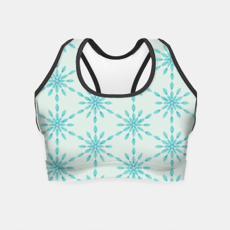 Imagen en miniatura de Simple Pretty Hand Painted Watercolor Snowflakes Winter Holiday Pattern, Turquoise, Teal, Mint Color Crop Top, Live Heroes