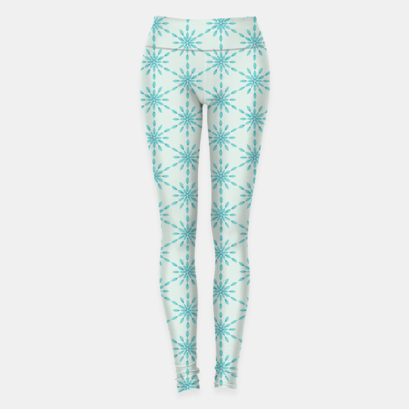 Foto Simple Pretty Hand Painted Watercolor Snowflakes Winter Holiday Pattern, Turquoise, Teal, Mint Color Leggings - Live Heroes