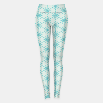 Imagen en miniatura de Simple Pretty Hand Painted Watercolor Snowflakes Winter Holiday Pattern, Turquoise, Teal, Mint Color Leggings, Live Heroes
