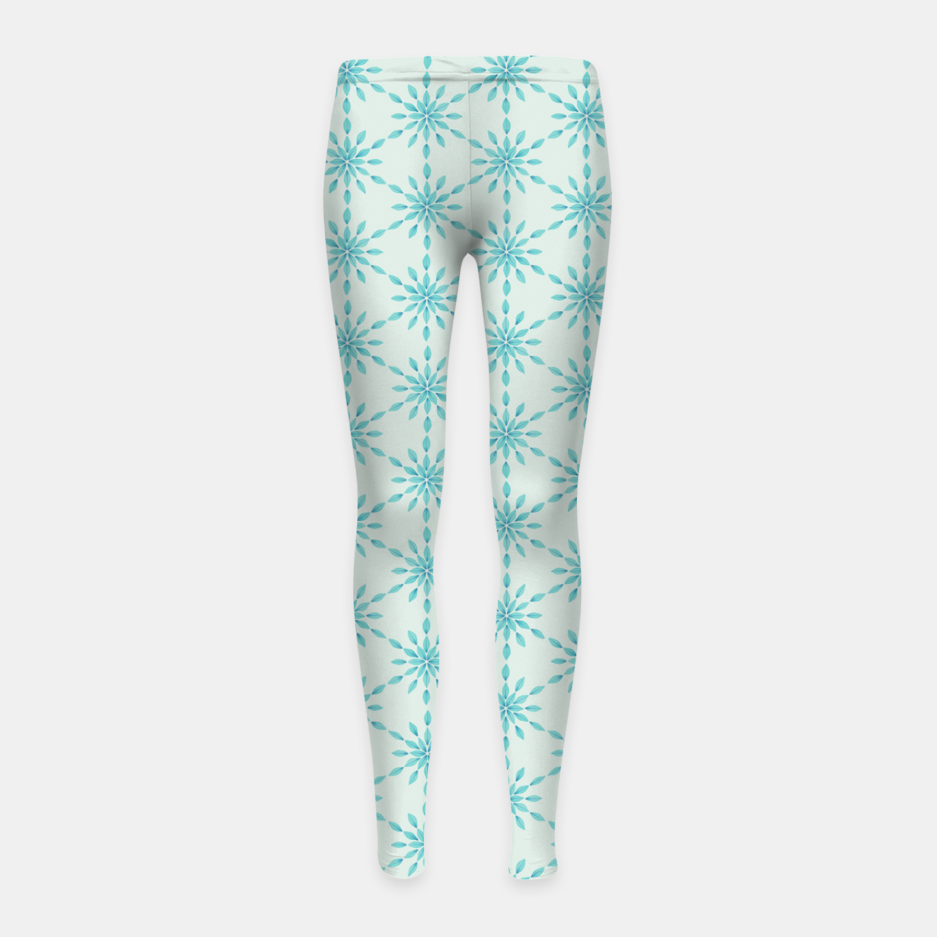 Foto Simple Pretty Hand Painted Watercolor Snowflakes Winter Holiday Pattern, Turquoise, Teal, Mint Color Girl's leggings - Live Heroes