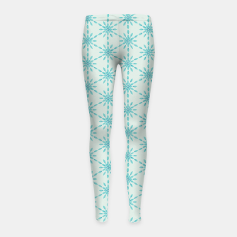 Imagen en miniatura de Simple Pretty Hand Painted Watercolor Snowflakes Winter Holiday Pattern, Turquoise, Teal, Mint Color Girl's leggings, Live Heroes