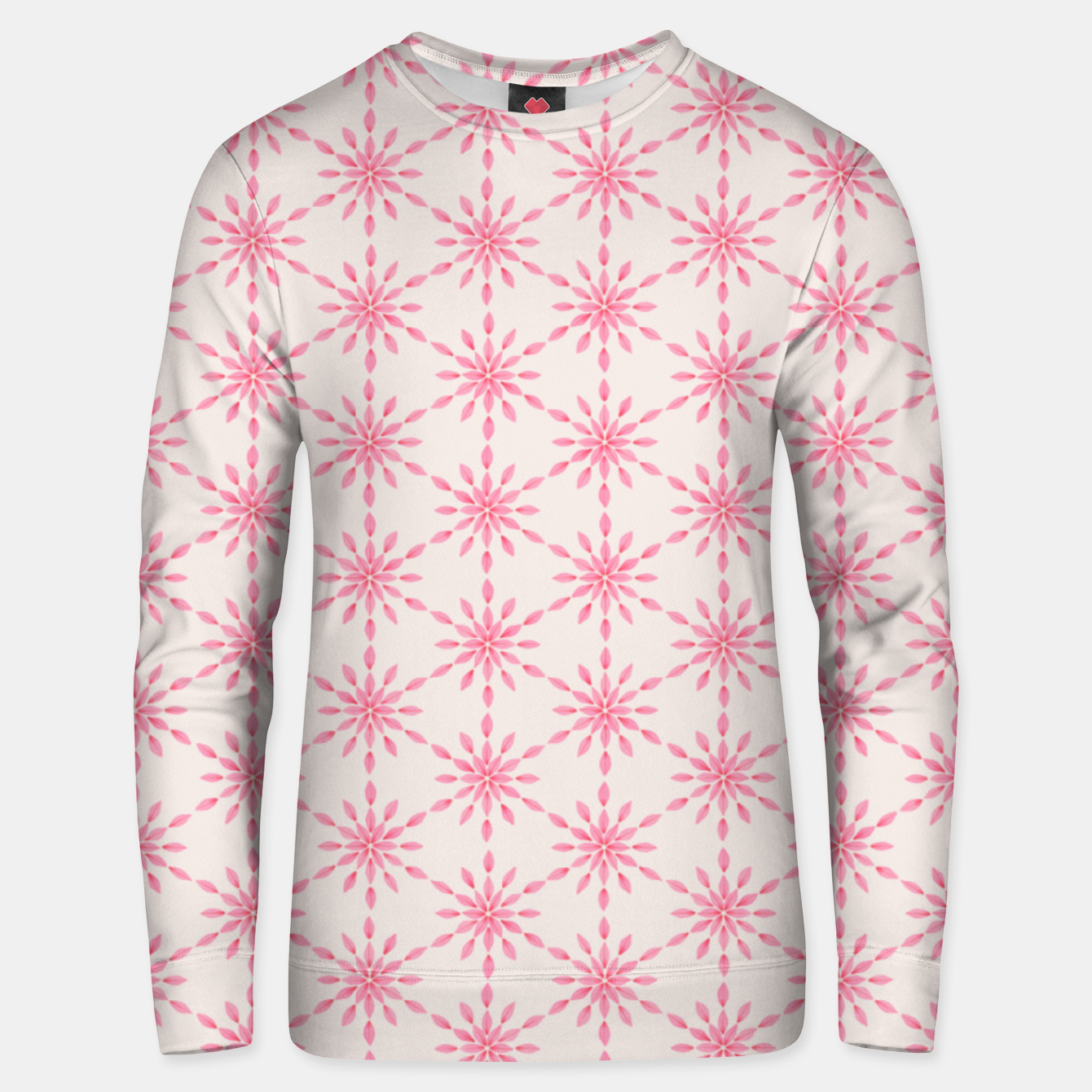Foto Simple Pretty Hand Painted Watercolor Snowflakes / Flowers, Winter Holiday Pattern in Blush, Rose, Pink Unisex sweater - Live Heroes