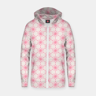 Imagen en miniatura de Simple Pretty Hand Painted Watercolor Snowflakes / Flowers, Winter Holiday Pattern in Blush, Rose, Pink Zip up hoodie, Live Heroes