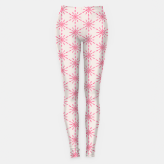 Imagen en miniatura de Simple Pretty Hand Painted Watercolor Snowflakes / Flowers, Winter Holiday Pattern in Blush, Rose, Pink Leggings, Live Heroes