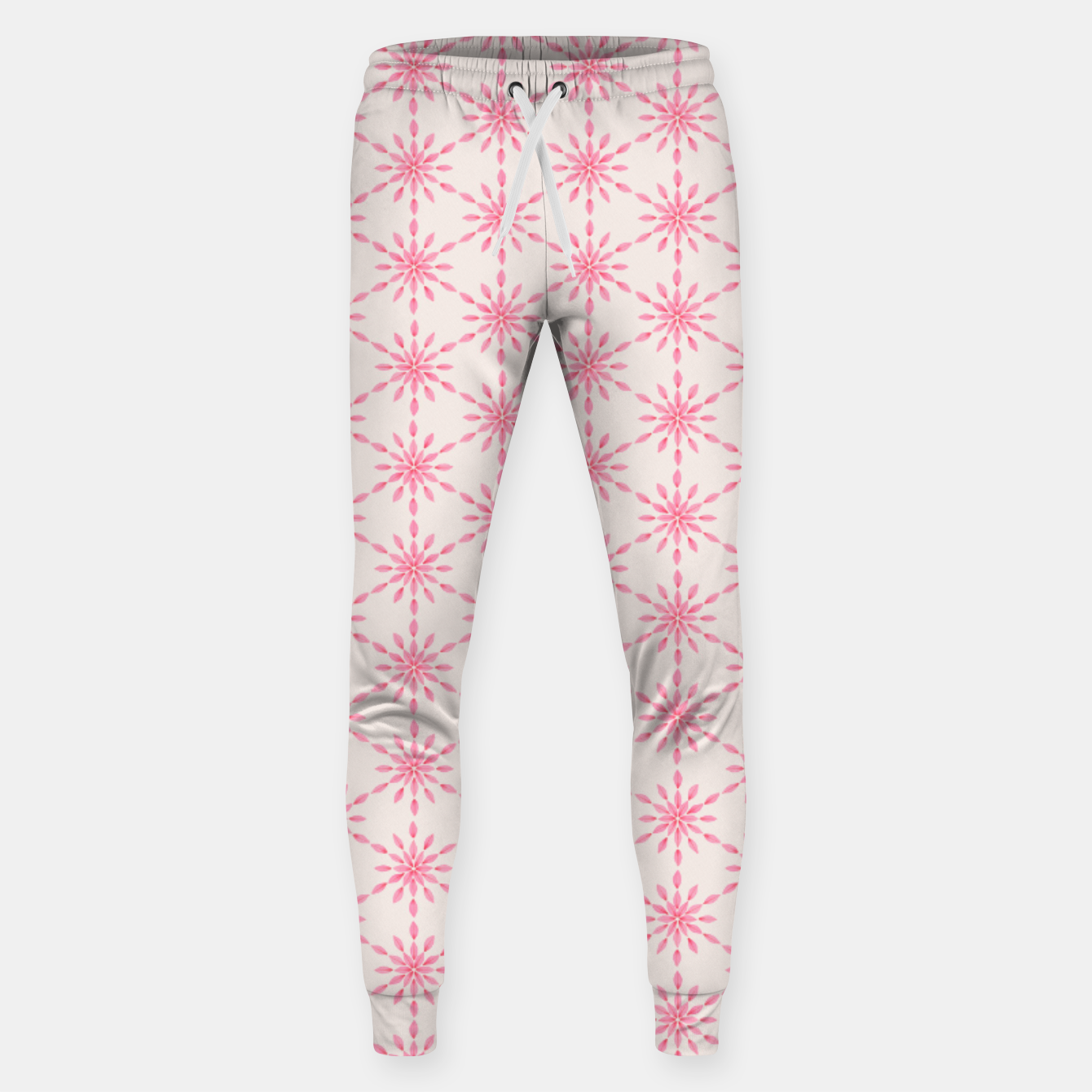 Zdjęcie Simple Pretty Hand Painted Watercolor Snowflakes / Flowers, Winter Holiday Pattern in Blush, Rose, Pink Sweatpants - Live Heroes