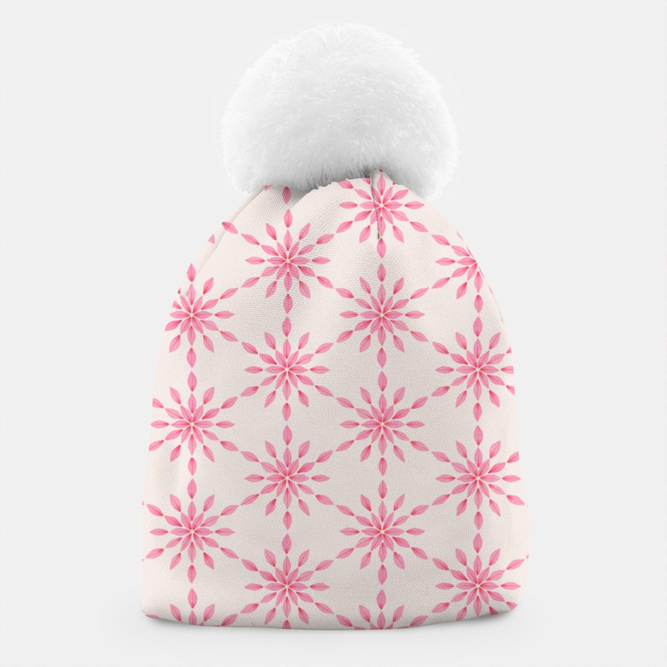 Zdjęcie Simple Pretty Hand Painted Watercolor Snowflakes / Flowers, Winter Holiday Pattern in Blush, Rose, Pink Beanie - Live Heroes