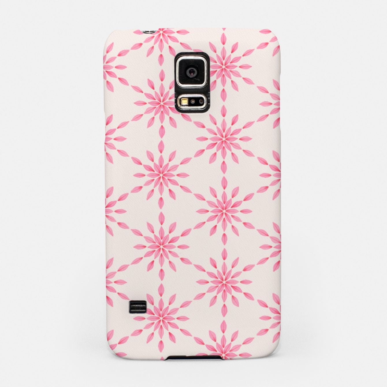 Zdjęcie Simple Pretty Hand Painted Watercolor Snowflakes / Flowers, Winter Holiday Pattern in Blush, Rose, Pink Samsung Case - Live Heroes
