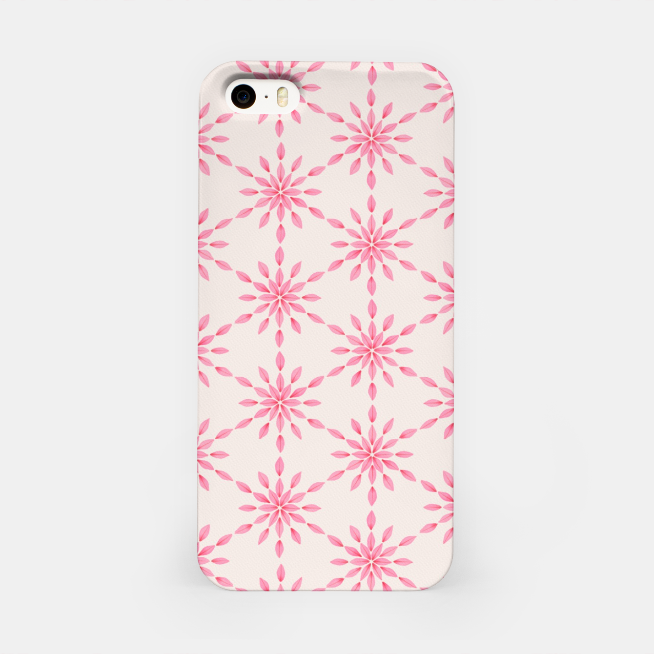 Zdjęcie Simple Pretty Hand Painted Watercolor Snowflakes / Flowers, Winter Holiday Pattern in Blush, Rose, Pink iPhone Case - Live Heroes