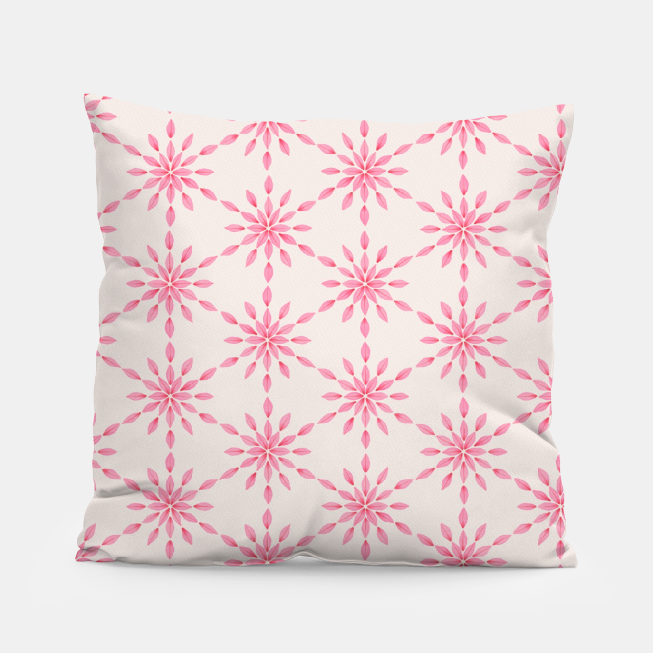 Zdjęcie Simple Pretty Hand Painted Watercolor Snowflakes / Flowers, Winter Holiday Pattern in Blush, Rose, Pink Pillow - Live Heroes