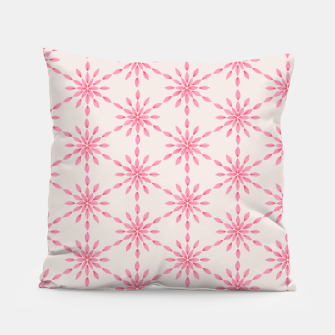 Imagen en miniatura de Simple Pretty Hand Painted Watercolor Snowflakes / Flowers, Winter Holiday Pattern in Blush, Rose, Pink Pillow, Live Heroes