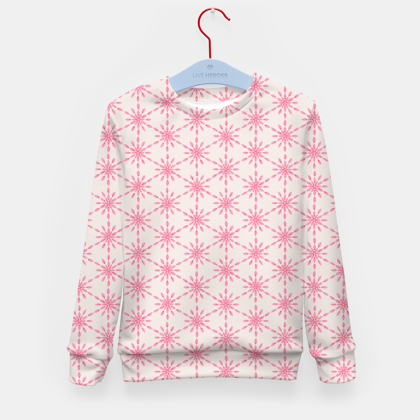 Foto Simple Pretty Hand Painted Watercolor Snowflakes / Flowers, Winter Holiday Pattern in Blush, Rose, Pink Kid's sweater - Live Heroes
