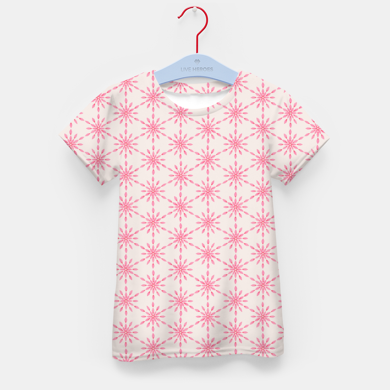 Foto Simple Pretty Hand Painted Watercolor Snowflakes / Flowers, Winter Holiday Pattern in Blush, Rose, Pink Kid's t-shirt - Live Heroes