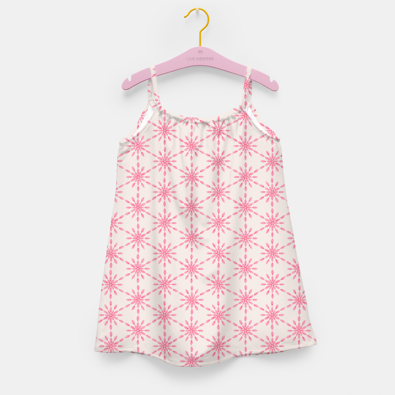 Foto Simple Pretty Hand Painted Watercolor Snowflakes / Flowers, Winter Holiday Pattern in Blush, Rose, Pink Girl's dress - Live Heroes
