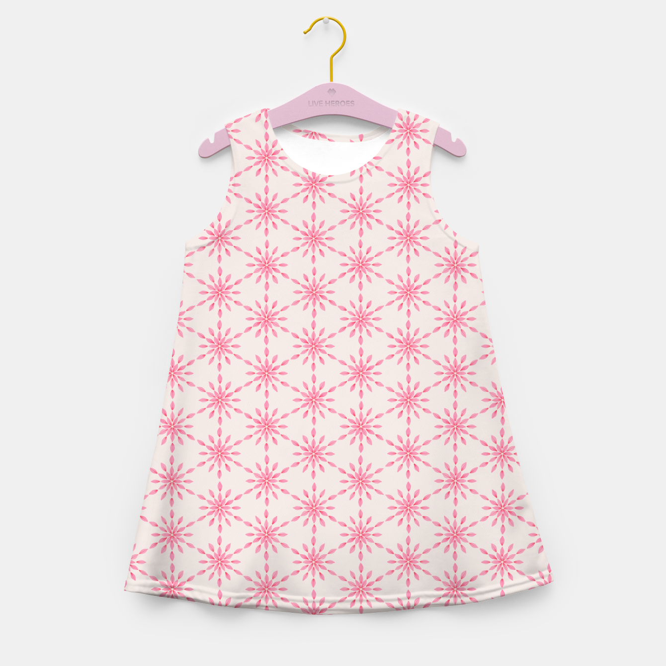 Foto Simple Pretty Hand Painted Watercolor Snowflakes / Flowers, Winter Holiday Pattern in Blush, Rose, Pink Girl's summer dress - Live Heroes