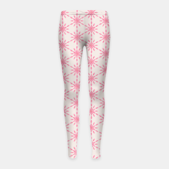 Imagen en miniatura de Simple Pretty Hand Painted Watercolor Snowflakes / Flowers, Winter Holiday Pattern in Blush, Rose, Pink Girl's leggings, Live Heroes