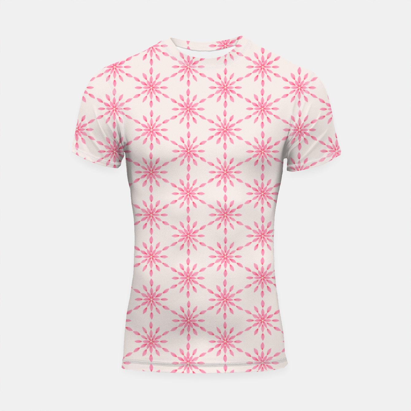 Foto Simple Pretty Hand Painted Watercolor Snowflakes / Flowers, Winter Holiday Pattern in Blush, Rose, Pink Shortsleeve rashguard - Live Heroes