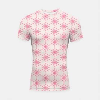 Imagen en miniatura de Simple Pretty Hand Painted Watercolor Snowflakes / Flowers, Winter Holiday Pattern in Blush, Rose, Pink Shortsleeve rashguard, Live Heroes