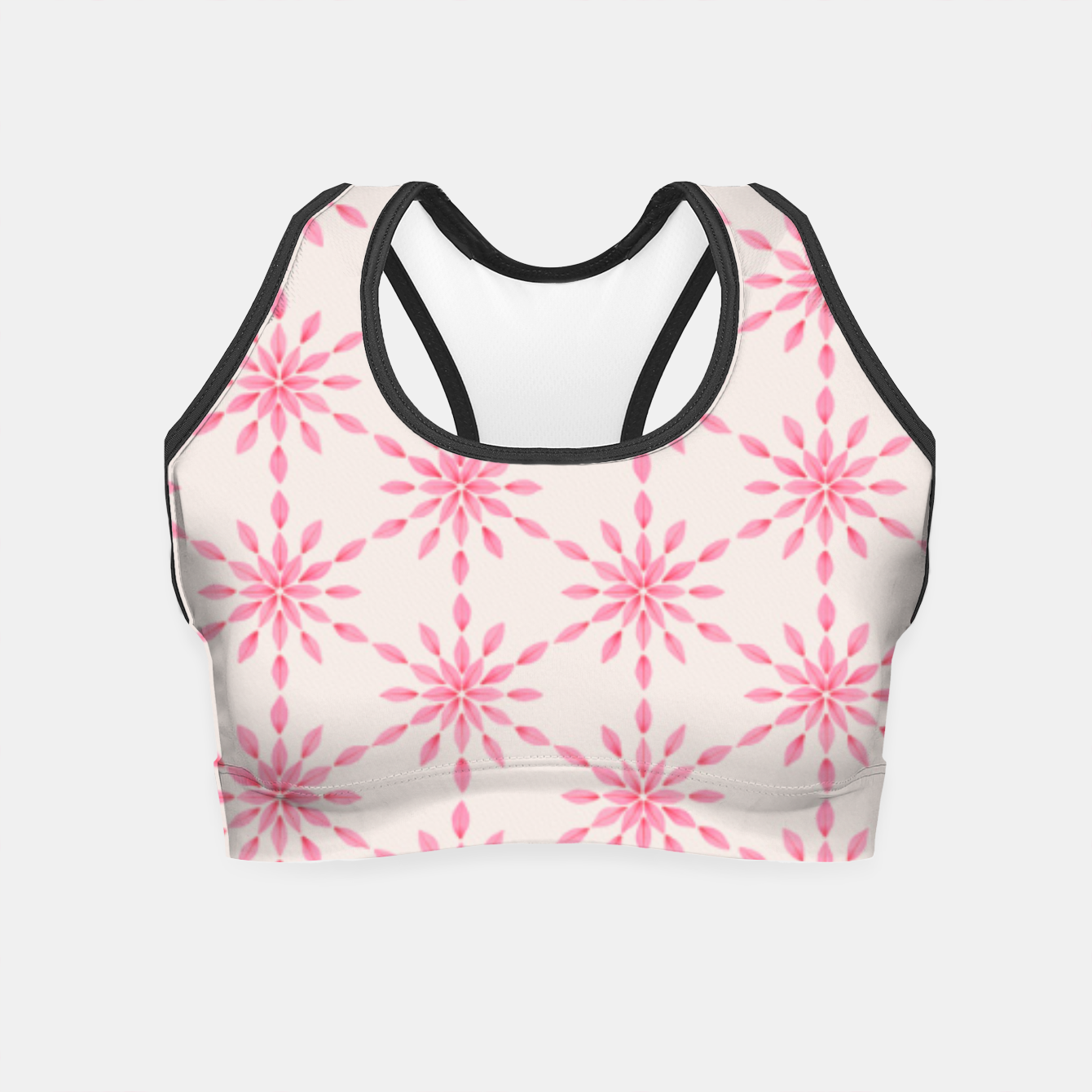 Foto Simple Pretty Hand Painted Watercolor Snowflakes / Flowers, Winter Holiday Pattern in Blush, Rose, Pink Crop Top - Live Heroes