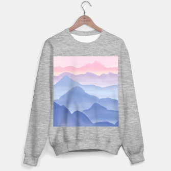 Thumbnail image of Magical Candy Hand-painted Watercolor Mountains, Airy Mountain Landscape in Pastel Blush Pink, Purple and Blue Color Sweater regular, Live Heroes
