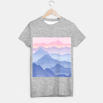 Thumbnail image of Magical Candy Hand-painted Watercolor Mountains, Airy Mountain Landscape in Pastel Blush Pink, Purple and Blue Color T-shirt regular, Live Heroes