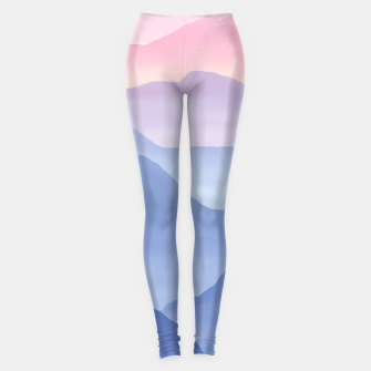 Miniatur Magical Candy Hand-painted Watercolor Mountains, Airy Mountain Landscape in Pastel Blush Pink, Purple and Blue Color Leggings, Live Heroes