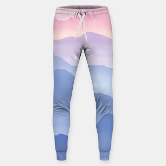 Thumbnail image of Magical Candy Hand-painted Watercolor Mountains, Airy Mountain Landscape in Pastel Blush Pink, Purple and Blue Color Sweatpants, Live Heroes