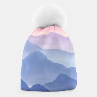 Miniatur Magical Candy Hand-painted Watercolor Mountains, Airy Mountain Landscape in Pastel Blush Pink, Purple and Blue Color Beanie, Live Heroes