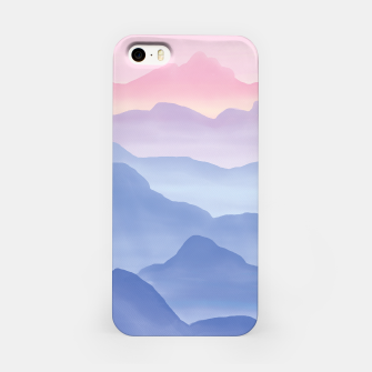 Miniatur Magical Candy Hand-painted Watercolor Mountains, Airy Mountain Landscape in Pastel Blush Pink, Purple and Blue Color iPhone Case, Live Heroes