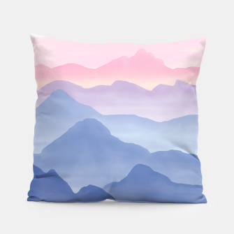 Thumbnail image of Magical Candy Hand-painted Watercolor Mountains, Airy Mountain Landscape in Pastel Blush Pink, Purple and Blue Color Pillow, Live Heroes