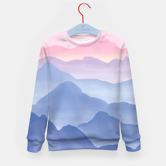 Miniatur Magical Candy Hand-painted Watercolor Mountains, Airy Mountain Landscape in Pastel Blush Pink, Purple and Blue Color Kid's sweater, Live Heroes