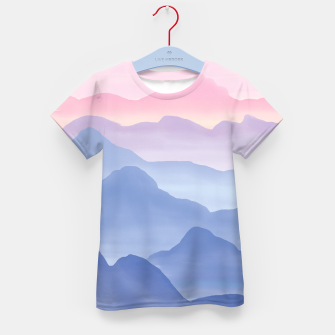Miniatur Magical Candy Hand-painted Watercolor Mountains, Airy Mountain Landscape in Pastel Blush Pink, Purple and Blue Color Kid's t-shirt, Live Heroes
