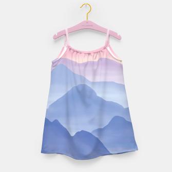 Thumbnail image of Magical Candy Hand-painted Watercolor Mountains, Airy Mountain Landscape in Pastel Blush Pink, Purple and Blue Color Girl's dress, Live Heroes
